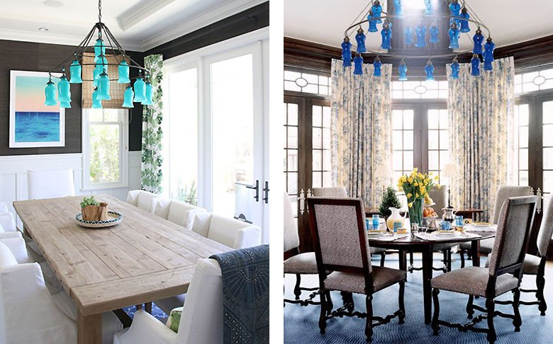 The Sara Chandelier in Two Dining Rooms - Amber Interiors, House Beautiful