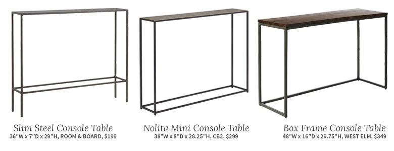 Slim Boxy Console Tables