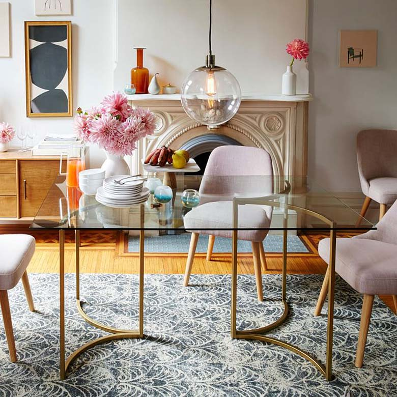 West Elm Pink Mid-Century Dining Chairs
