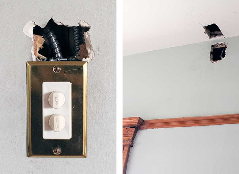 Holes in the Bedroom Ceiling and Walls from Rewiring