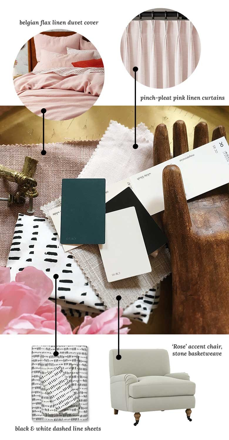 Fabrics and Paint Swatches for Making it Lovely's One Room Challenge