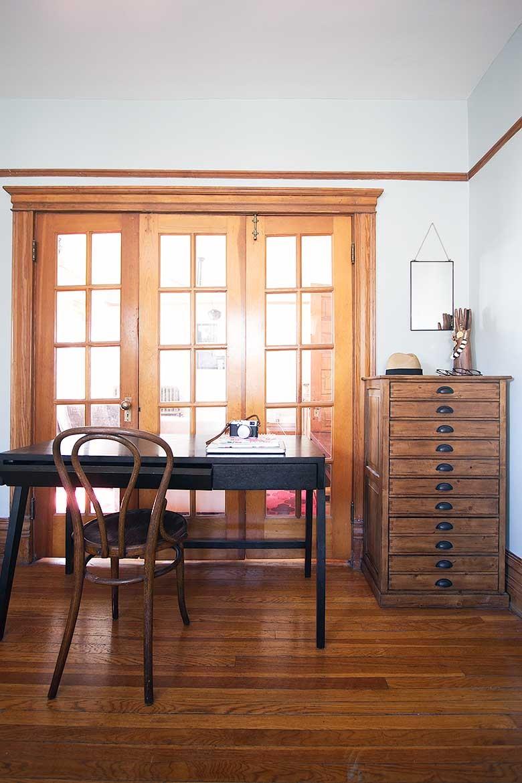 Desk in the Bedroom, in Front of French Doors