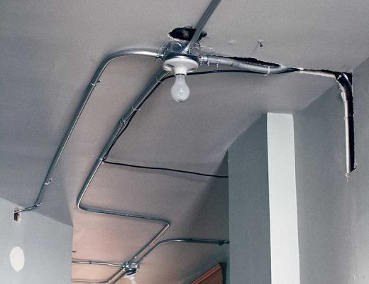 Hallway Ceiling, Second Floor, with Conduit for Electrical Rewiring