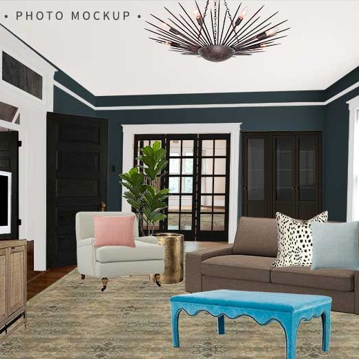 One Room Challenge Den Photo Mockup | Making it Lovely