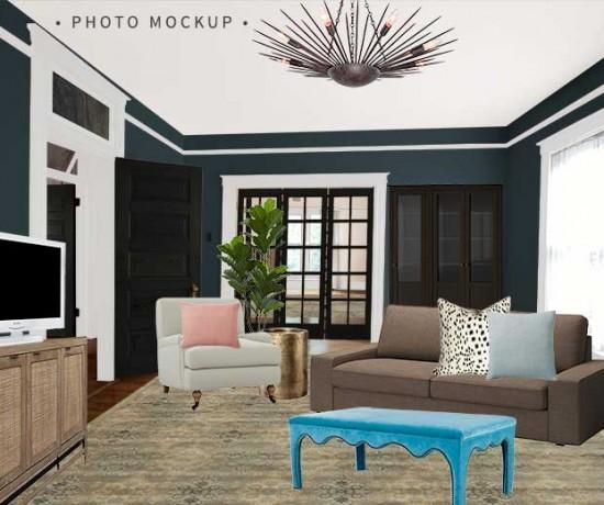 One Room Challenge Den Photo Mockup | Making it Lovely