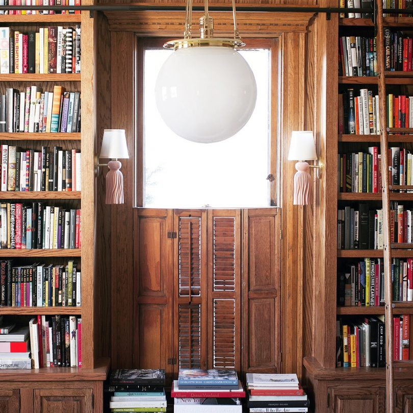 Rejuvenation Hood Pendant and Collen and Company Tassel Sconces in Making it Lovely's Library