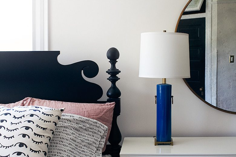 Turquoise Table Lamp, Black Cannonball Bed
