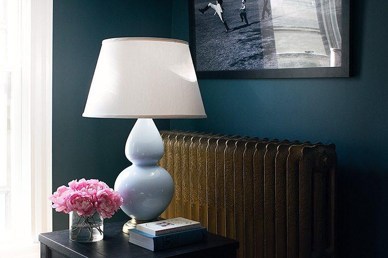 Light Blue Ceramic Gourd Table Lamp