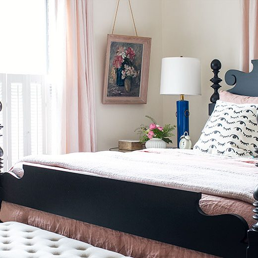 Quincy Black Cannonball Bed | Making it Lovely's One Room Challenge Bedroom