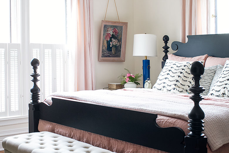 Quincy Black Cannonball Bed   Making it Lovely's One Room Challenge Bedroom