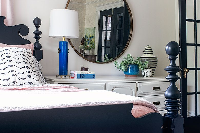 A Vintage Dresser, Painted by MegMade, Instead of a Nightstand | Making it Lovely's One Room Challenge Bedroom