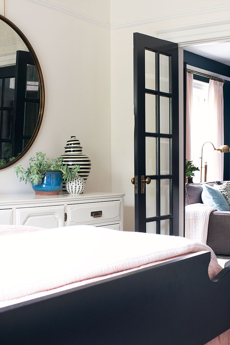 Bedroom with Vintage Dresser Pianted by MegMade | Making it Lovely's One Room Challenge Bedroom