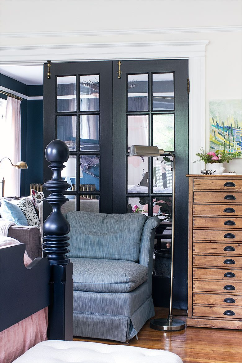 Vintage Slipper Chair Next to French Doors in the Bedroom | Making it Lovely's One Room Challenge Bedroom