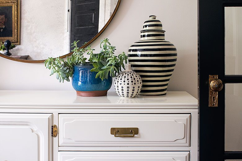 A Plant, A Vase, and a Striped Ginger Jar on the Dresser | Making it Lovely's One Room Challenge Bedroom