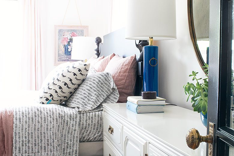 Super Cute Bedding and a Turquoise Lamp| Making it Lovely's One Room Challenge Bedroom