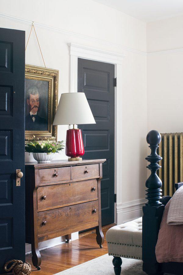 Vintage Wooden Dresser Between Black Painted Doors in the Bedroom   Making it Lovely's One Room Challenge Bedroom
