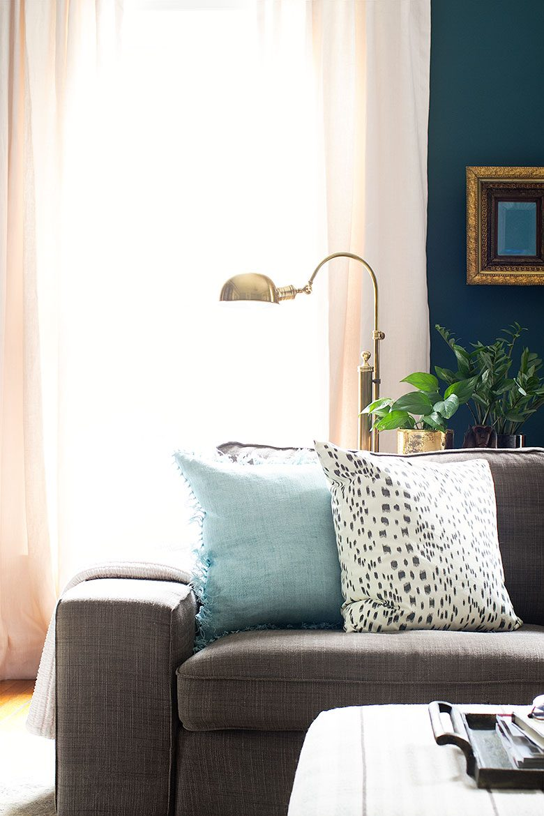 Task Light for Reading Behind the Couch | Making it Lovely's One Room Challenge Den