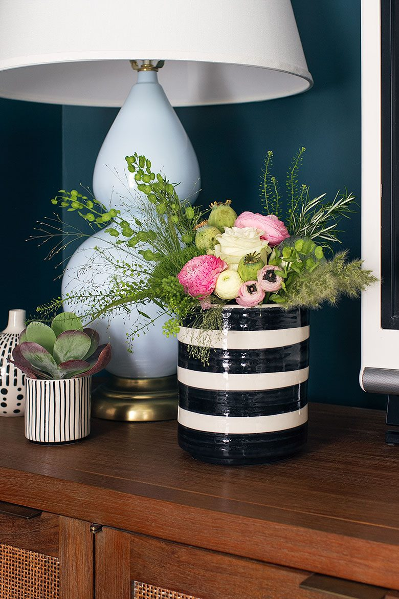 Light Blue Gourd Lamp from Lamps Plus and a Black and White Striped Planter as a Vase | Making it Lovely's One Room Challenge Den