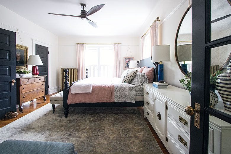 Bedroom, Looking Toward the Windows | Making it Lovely's One Room Challenge Bedroom