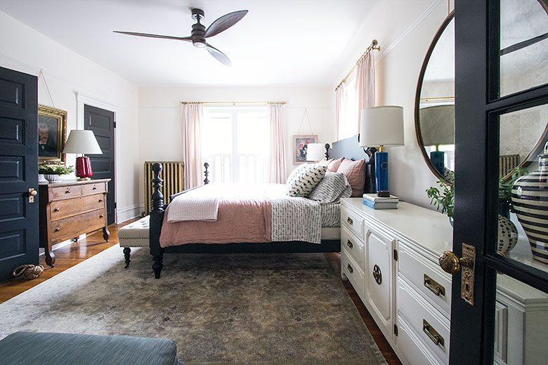 Bedroom, Looking Toward the Windows | Making it Lovely's One Room Challenge Bedroom