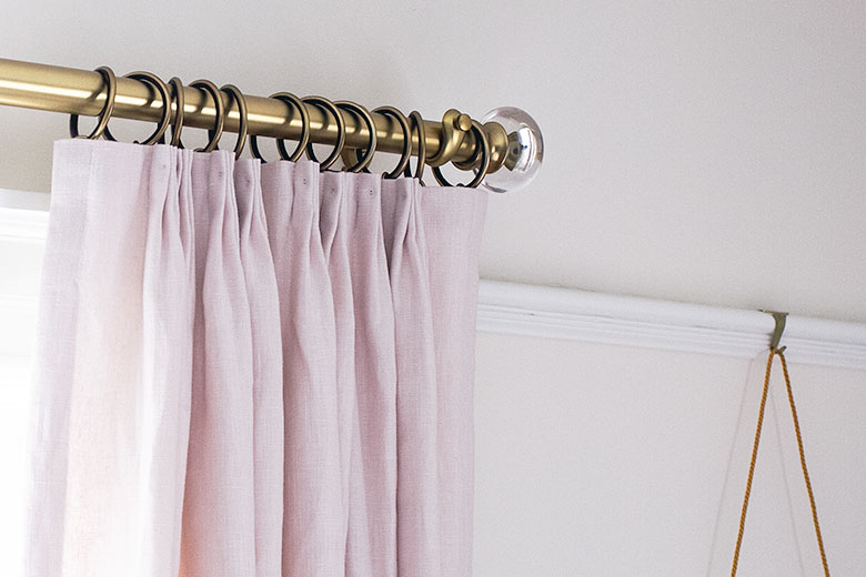 Pink Linen Curtains from Tonic Living   Making it Lovely's One Room Challenge Bedroom