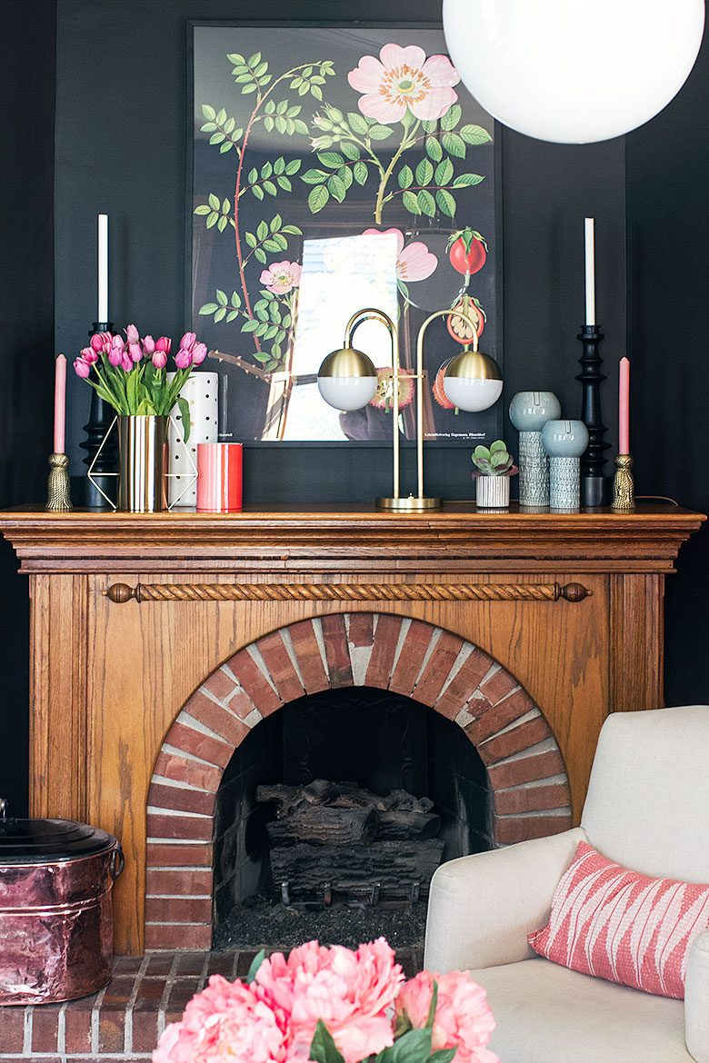 Making it Lovely's Fireplace in #thelovelyvictorian with a Cedar & Moss Double Table Lamp from Rejuvenation