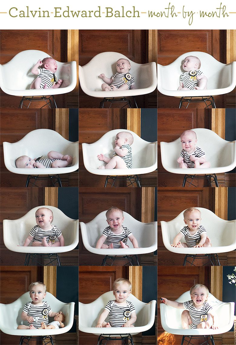 Calvin's Monthly Baby Photos (One to Twelve Months Old)