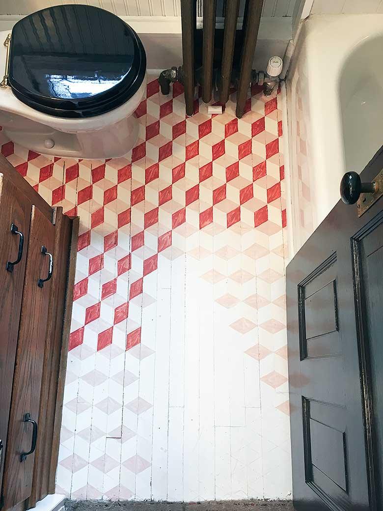 Geometric DIY Painted Floor in Progress   Making it Lovely