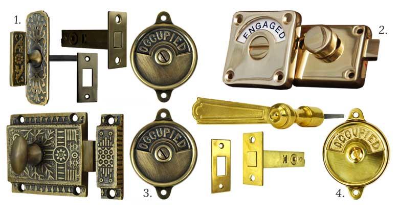 Occupied & Engaged / Vacant Brass Bathroom Door Locks
