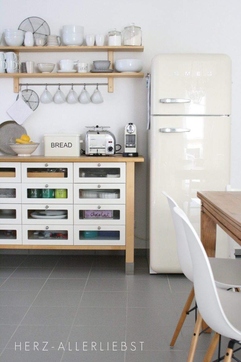 IKEA Varde Drawers and Smeg Fridge in Kitchen