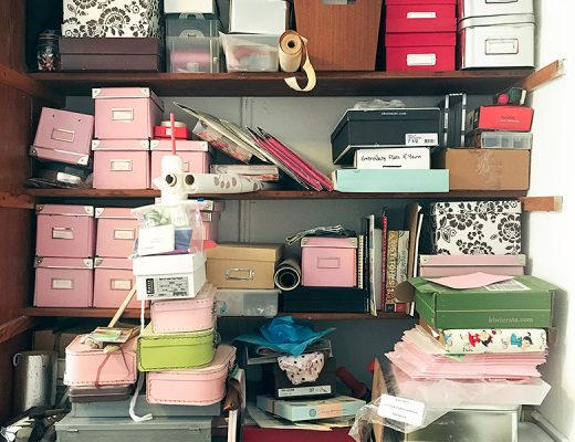 Overloaded Shelves with Craft Supplies
