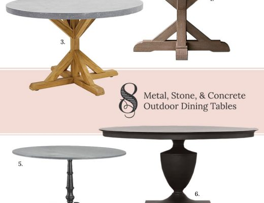 8 Round Metal, Stone, & Concrete Outdoor Dining Tables | Making it Lovely