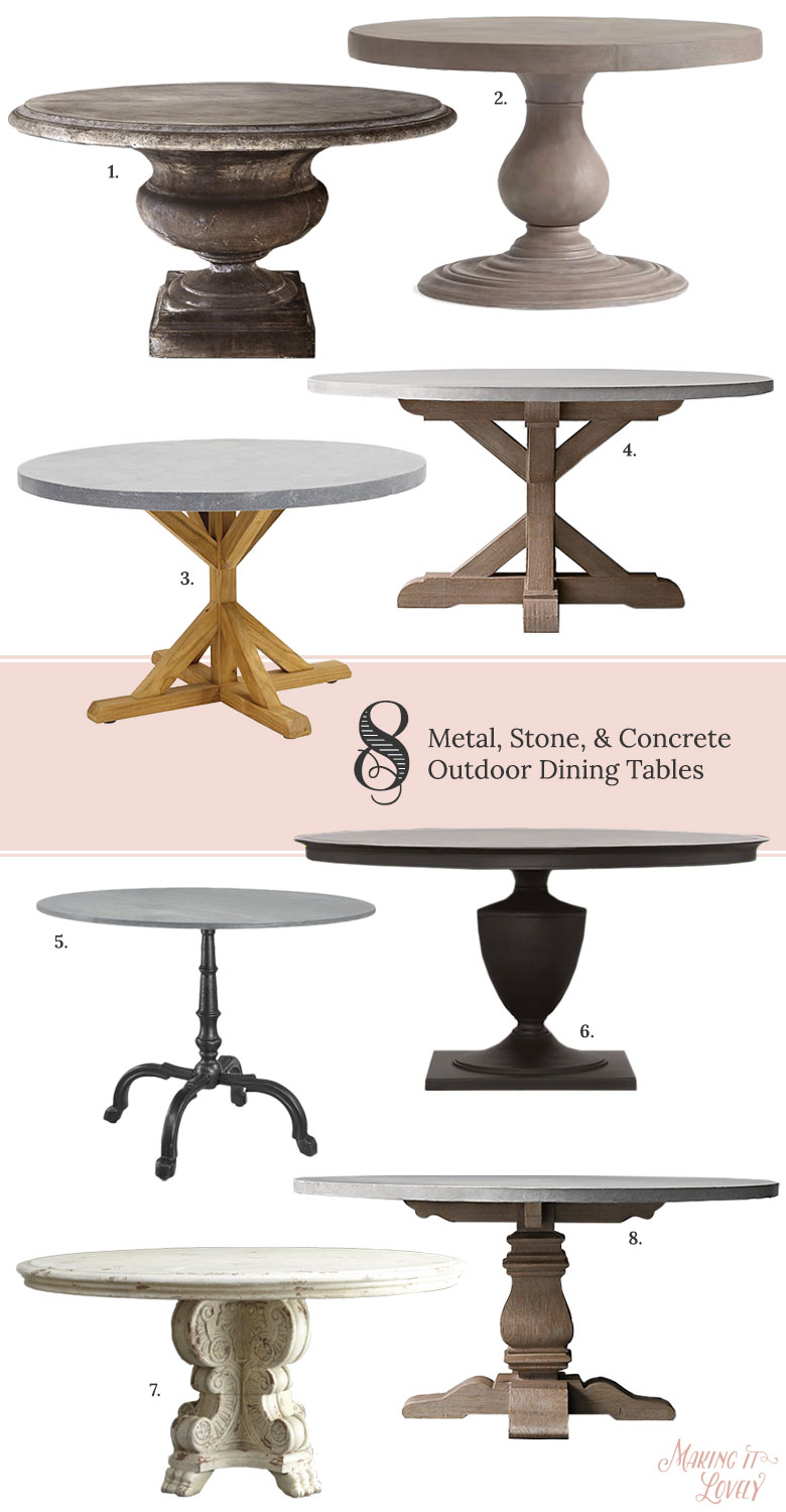 8 Round Metal Stone Amp Concrete Outdoor Dining Tables