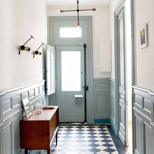 Blue Gray Molding in an Entryway with Checkered Tile Floors