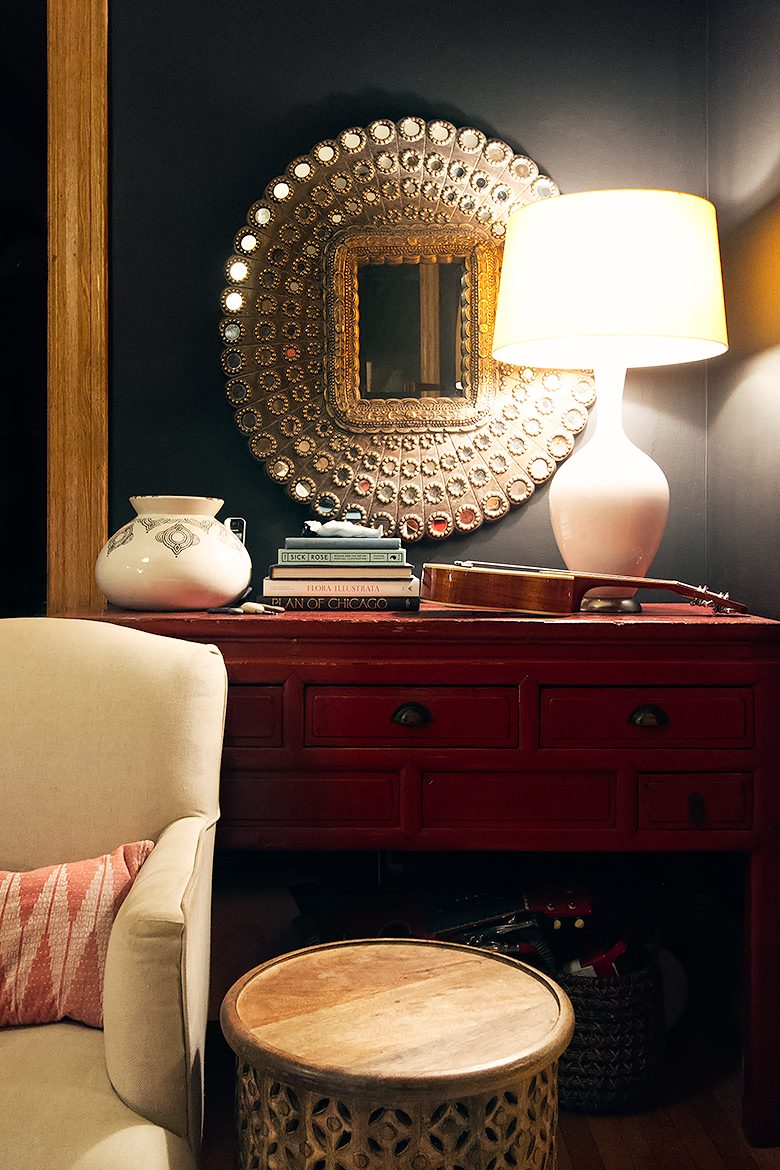 Red Console, Evening Shot with Lamp