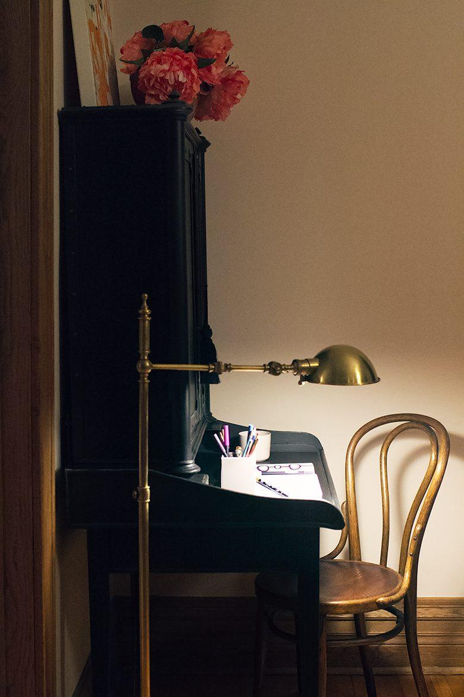 Pharmacy Lamp from Rejuvenation, Antique Thonet Chair, Secretary Desk from Restoration Hardware   Making it Lovely's Home