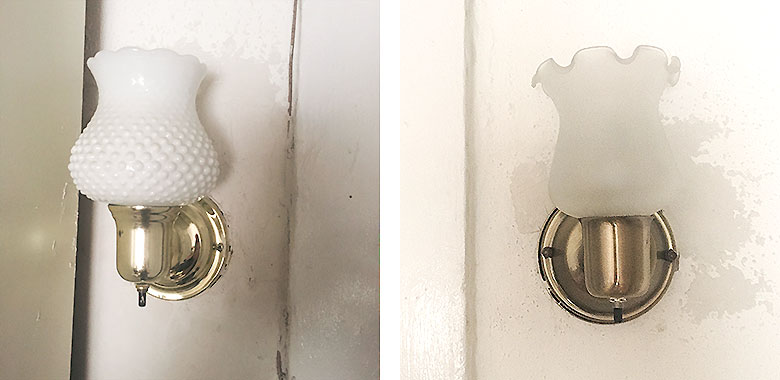Cheap Sconces with Badly Patched Damaged Walls
