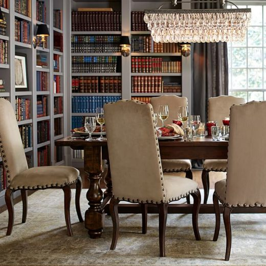 Pottery Barn Brass Collins Sconce in a Home Library / Dining Room