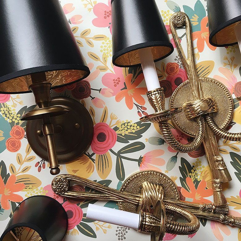 Brass Sconces with Black Chandelier Shades   Making it Lovely