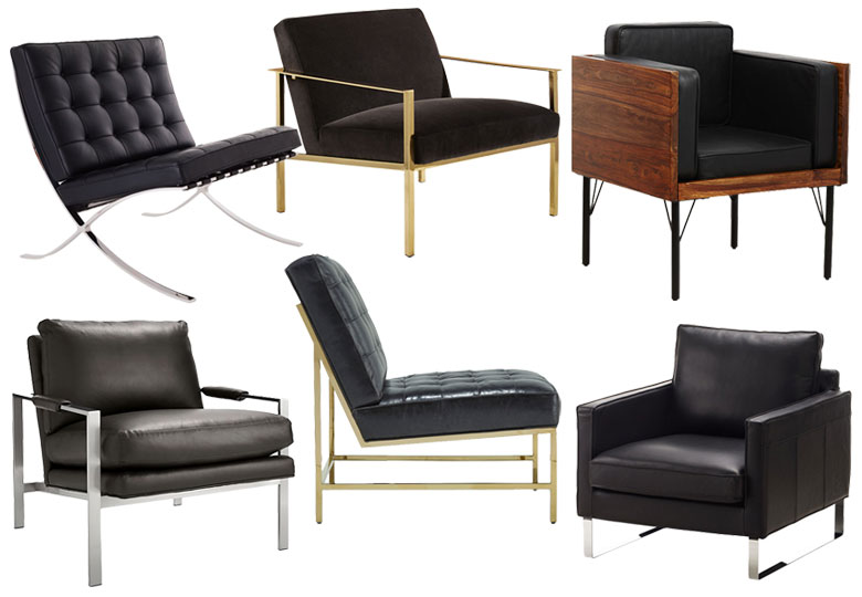 Dark Leather and Velvet Chairs, Slim, Metal Base | Making it Lovely