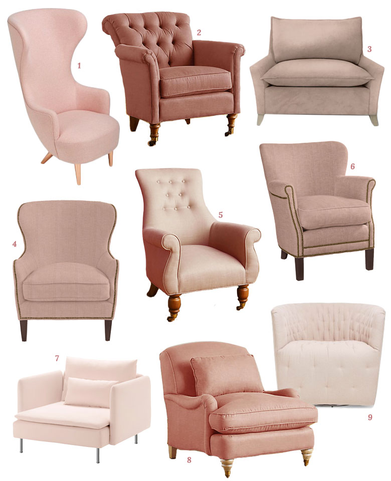 9 Pink Upholstered Armchairs | Making it Lovely