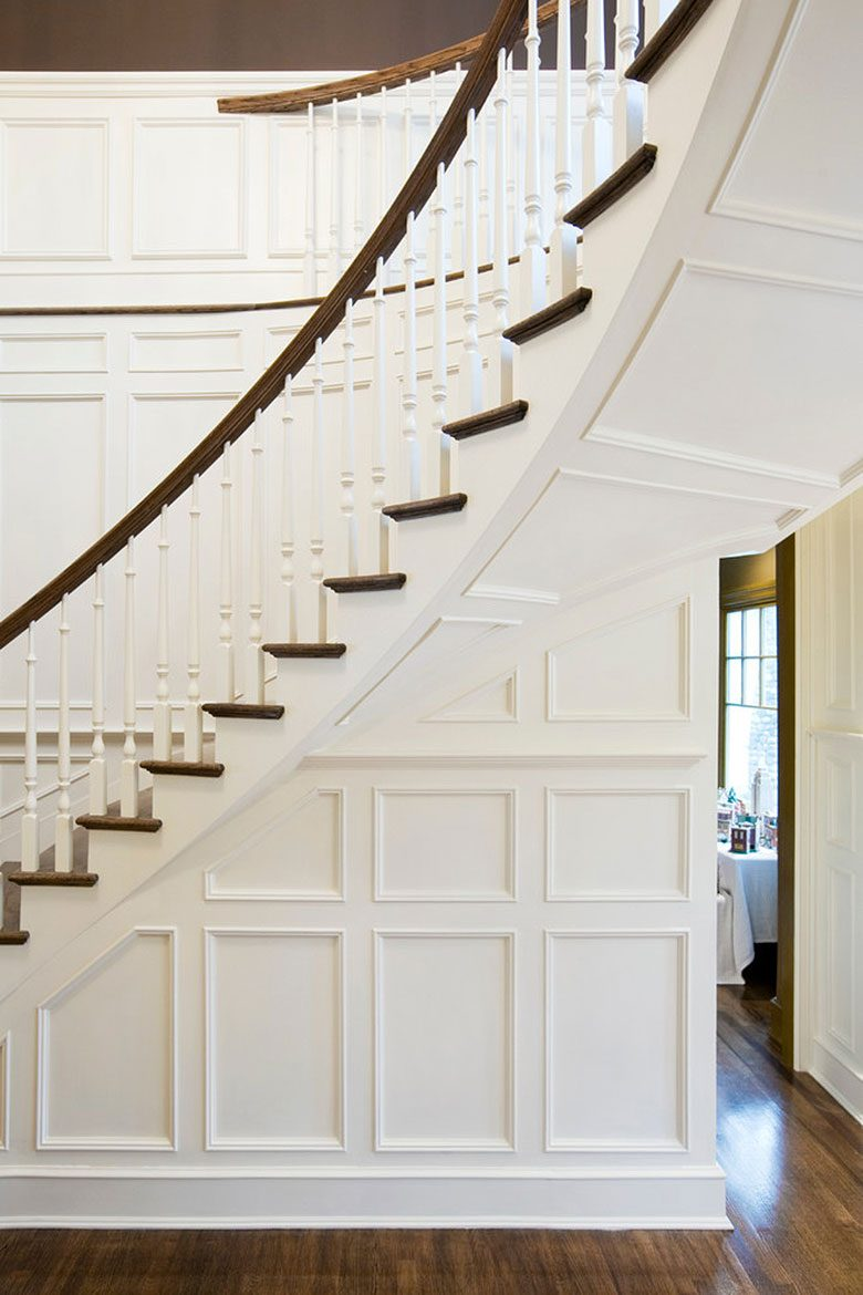 White Paneled Wooden Staircase