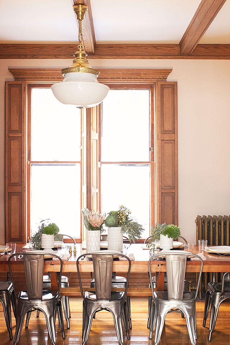Subtle Pink Dining Room with Wood Trim, Making it Lovely