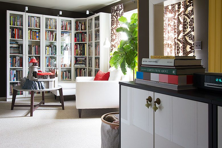 Home Library, Brown Walls, White IKEA Billy Bookshelves   Making it Lovely