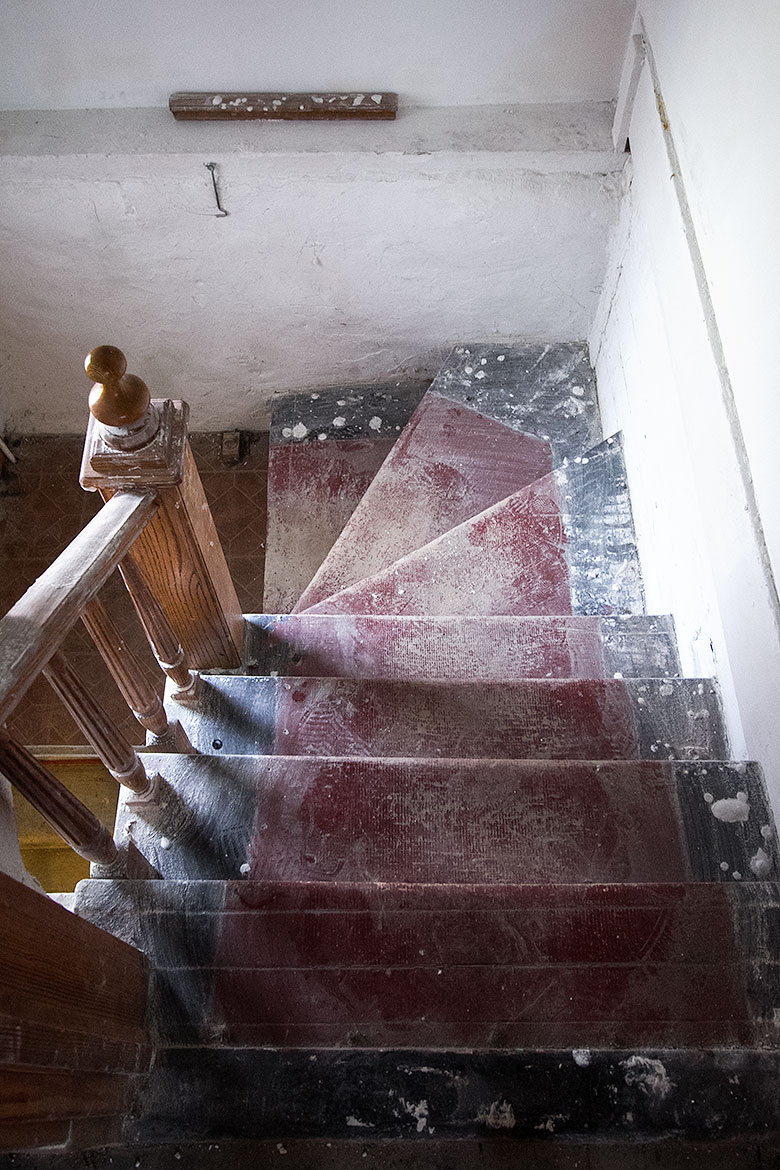 Stairs After Skim Coating Walls and Pulling Up Carpeting