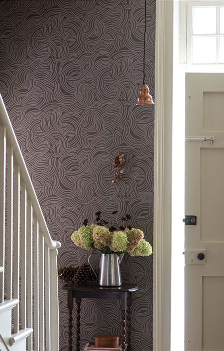 Cool Brown Farrow & Ball Tourbillon Wallpaper