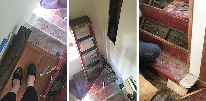 Back Stairway, Torn Apart, and a Cracked Plumbing Stack | Making it Lovely, One Room Challenge