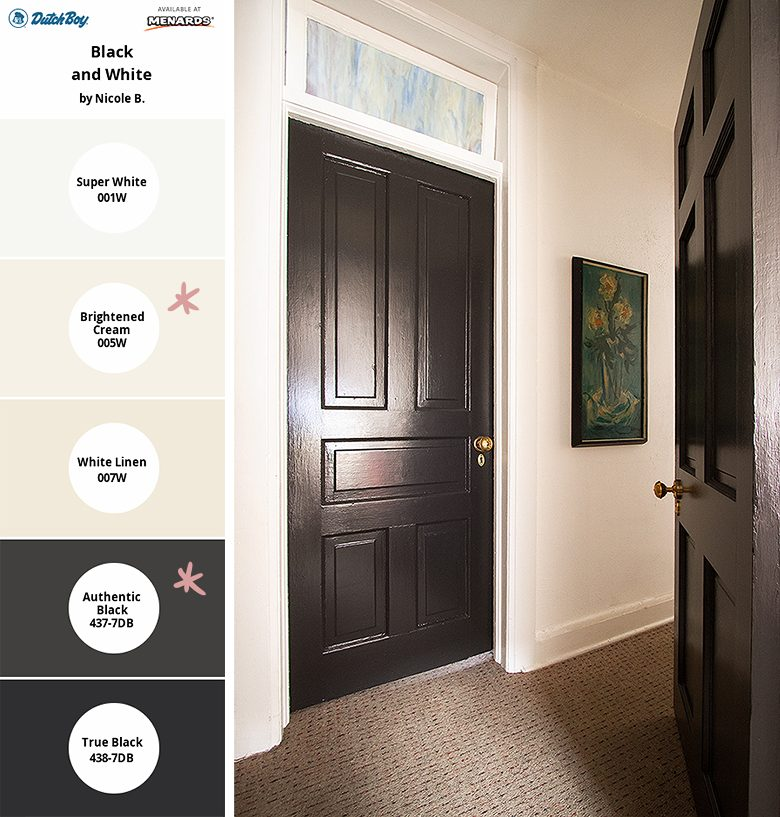 Black Doors, White Walls and Trim - Dutch Boy