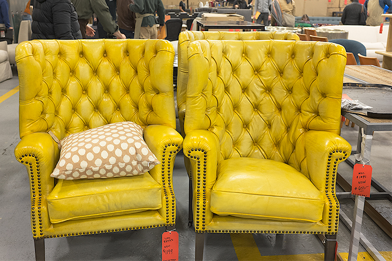 Jayson Home Warehouse Sale   Yellow Leather Tufted Armchairs