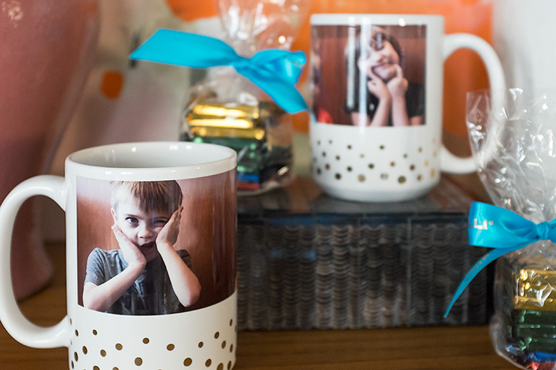 Personalized Gold Dot Mugs from Shutterfly